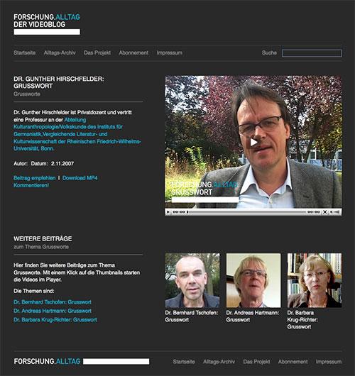 Seite der Website www.forschungalltag.de