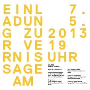 ON-TYPE Einladung Vernissage