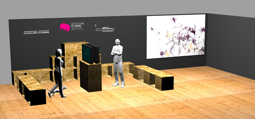3D-Plan des Stand des IDG und IMG auf dem Mainzer Wissenschaftsmarkt 2013